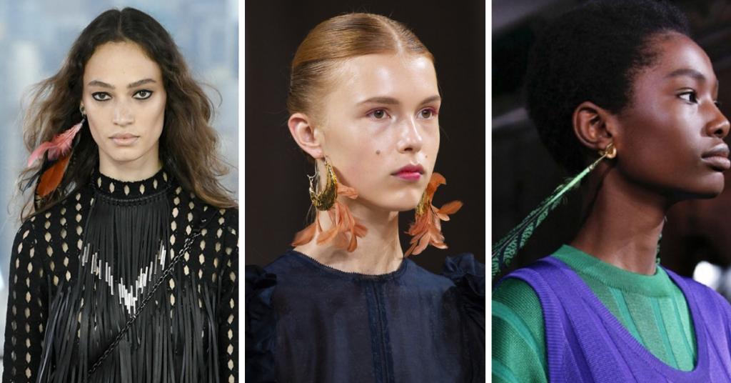 Jewelry Trends 2019;Feathers: Longchamp, Ulla Johnson, Marni