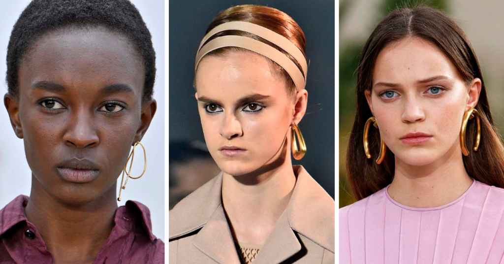 Jewelry Trends 2019: Beautiful People, Dior and Valentino gold earrings.