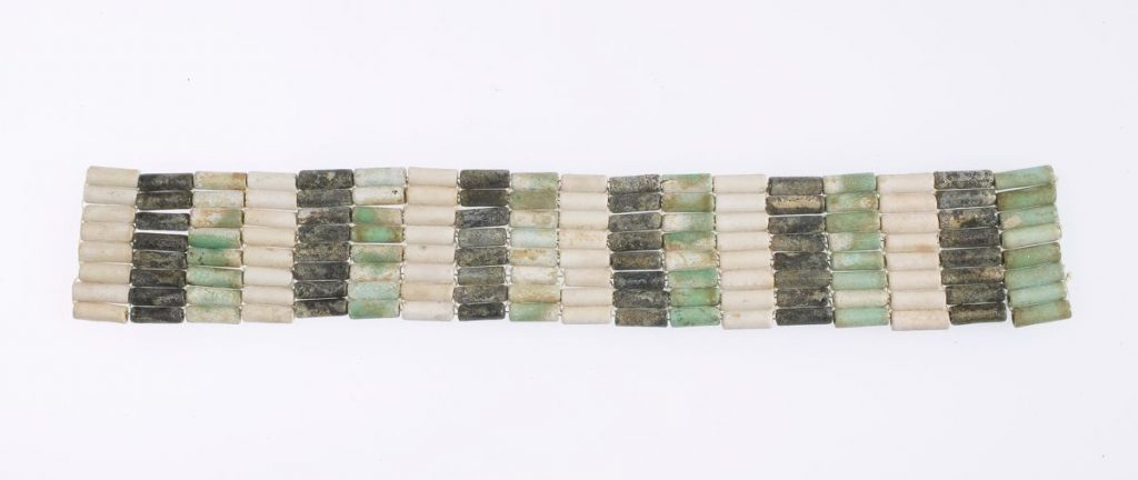 Ancient Egyptian Jewelry Anklet from the Middle Kingdom. Black, white and green faience