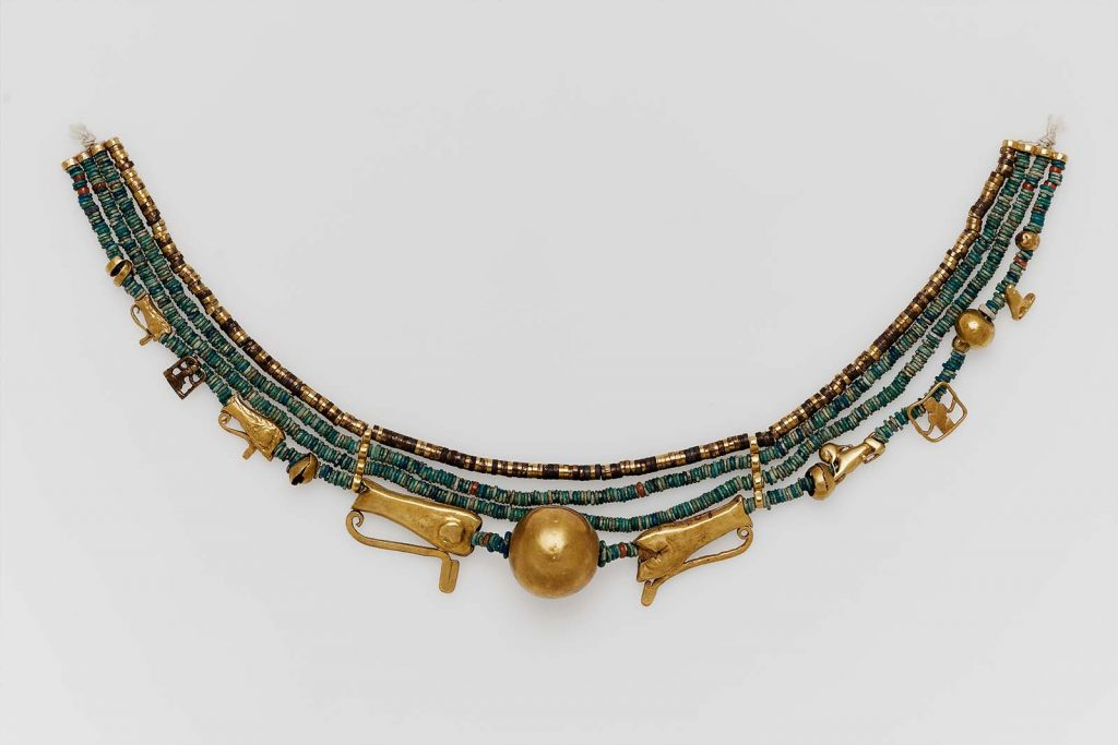 Ancient Egyptian Jewelry Beaded collar with amulets