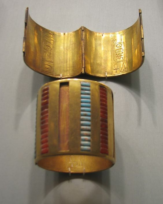 Ancient Egyptian Jewelry Hinged bracelets, New Kingdom. Gold, carnelian, turquoise, glass