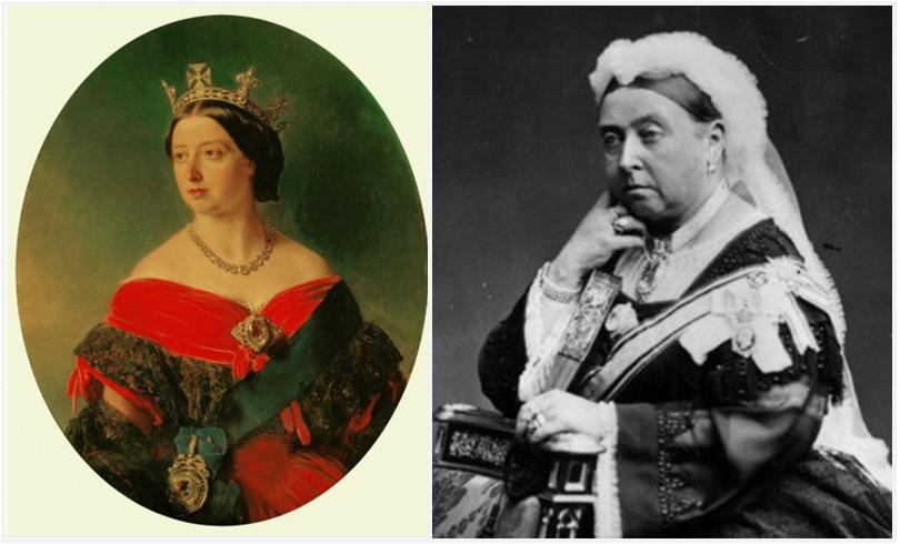 Queen Victoria is wearing the Koh-I-Noor famous diamond as a brooch.