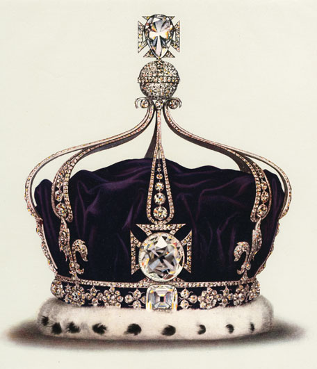 he Koh-I-Noor famous Diamond, as depicted in a lithograph of Queen Mary's crown.