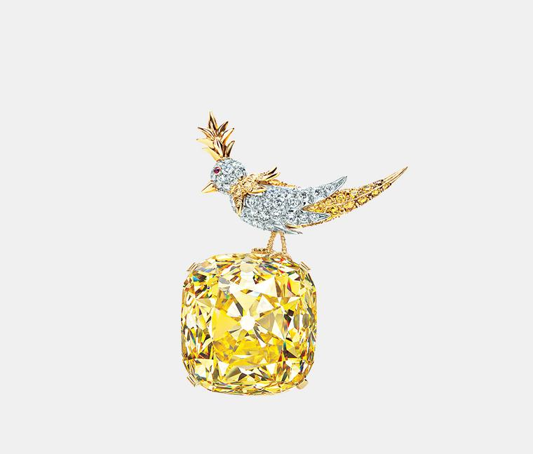 The Tiffany famous diamond set in the Bird on a Rock brooch by Jean Schlumberger is one of the four designs in which this legendary diamond has appeared.