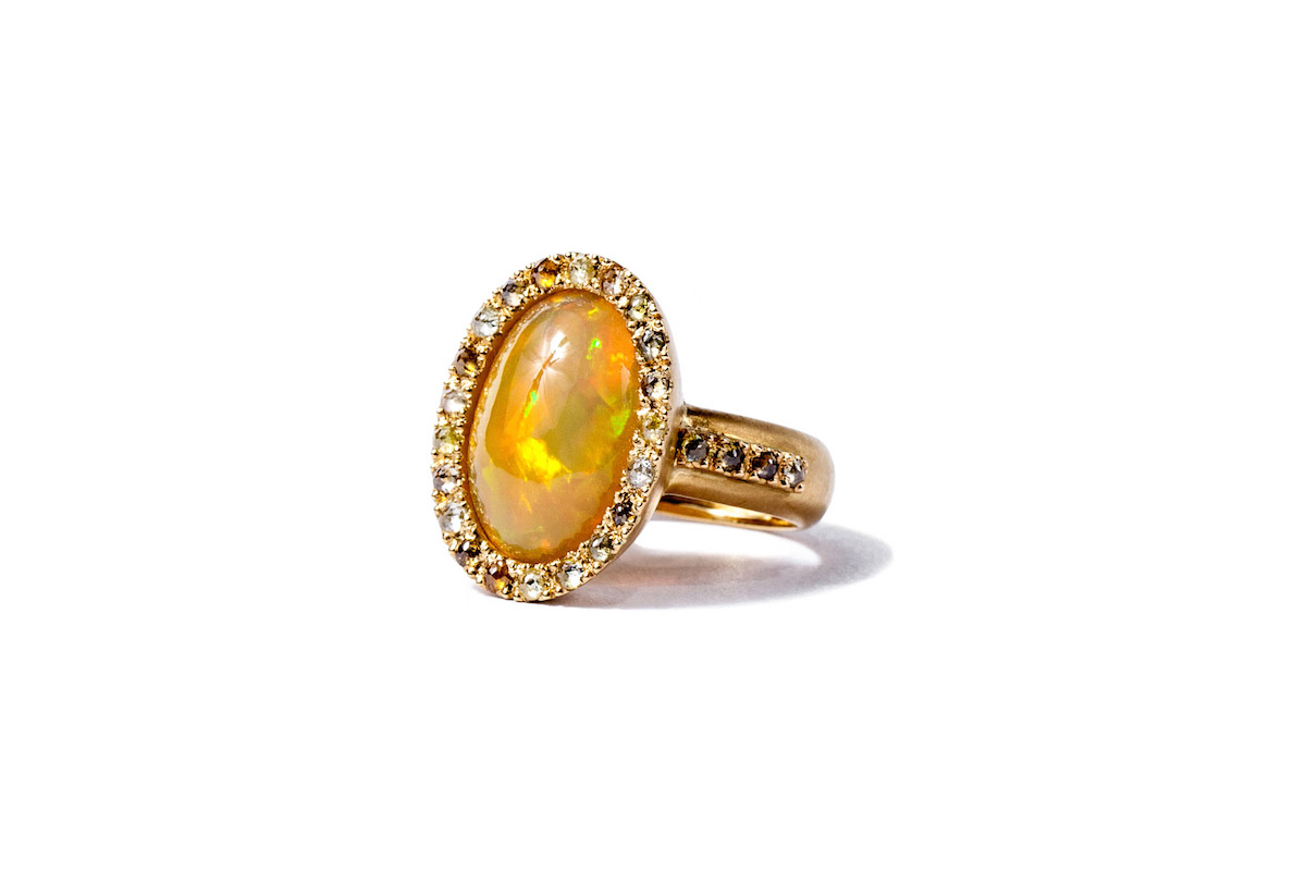 Golden Sunset – Gemme Couture Welo Opal Diamond Ring from the Rings of Desire Collection- colored gemstone engagement rings