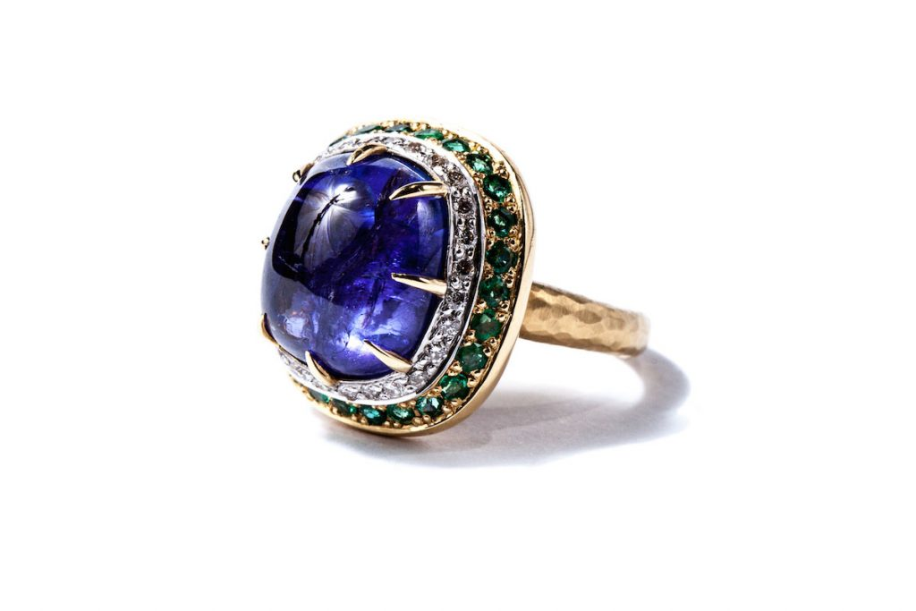Byzantine Times – Gemme Couture Tanzanite Cabochon, Emerald and Diamond Ring from the Rings of Desire Collection colored gemstone engagement rings
