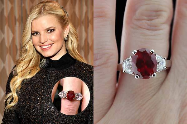 Jessica Simpson's ruby engagement ring Colored Gemstone Engagement Rings
