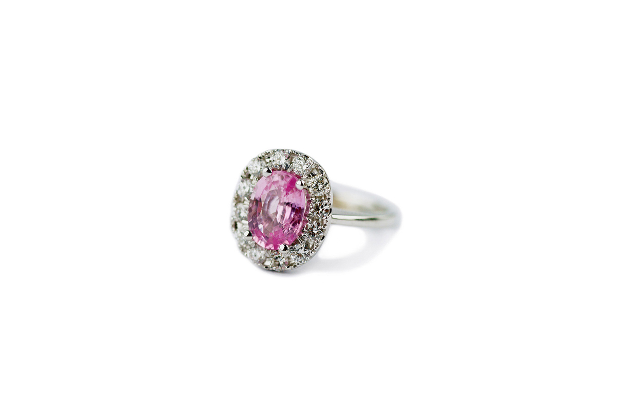 Little Princess – Gemme Couture Pink Sapphire Diamond Engagement Ring from the Wedding Collection Colored Gemstone Engagement Rings