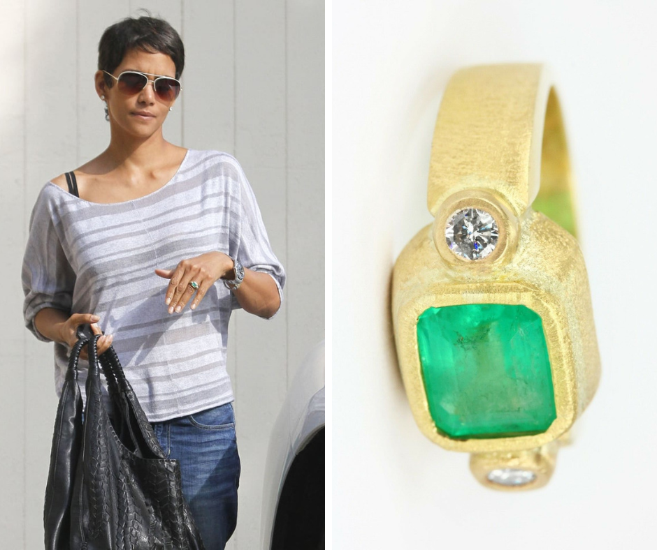 Halle Berry is wearing gold emerald engagement ring adorned with two smaller diamonds.Colored Gemstone Engagement Rings