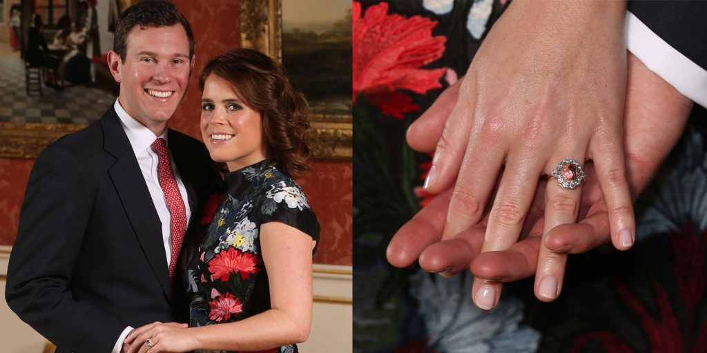 Princess Eugenie and her fiancé Jack Brooksbank posing with light pink padparadscha sapphire engagement ring - Colored Gemstone Engagement Rings