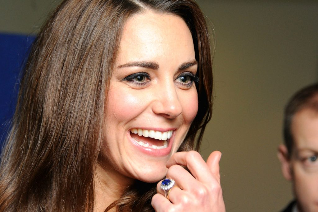 Princess Diana's 18-carat sapphire engagement ring worn by Princess Kate Middleton. Colored gemstone engagement rings