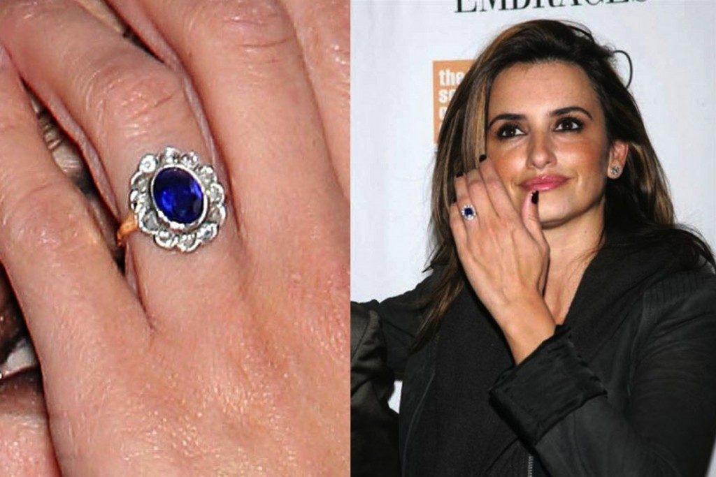 Penelope Cruz with a beautiful blue engagement ring - Colored Gemstone Engagement Rings