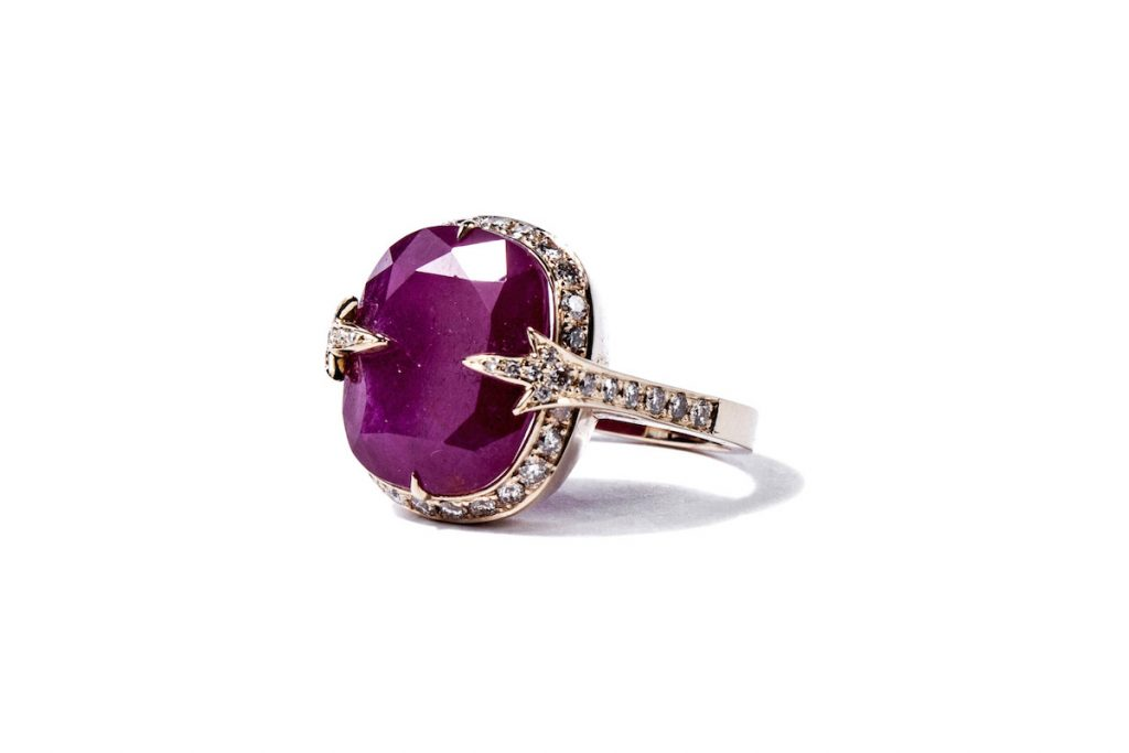 Gemme Couture Natural Cushion Cut Ruby Diamond Ring from the Rings of Desire Collection