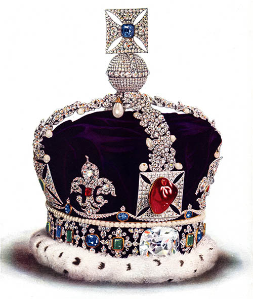 Prominently displayed on the Imperial State Crown of England is the 170-carat Black Prince Ruby, which is actually an uncut spinel.