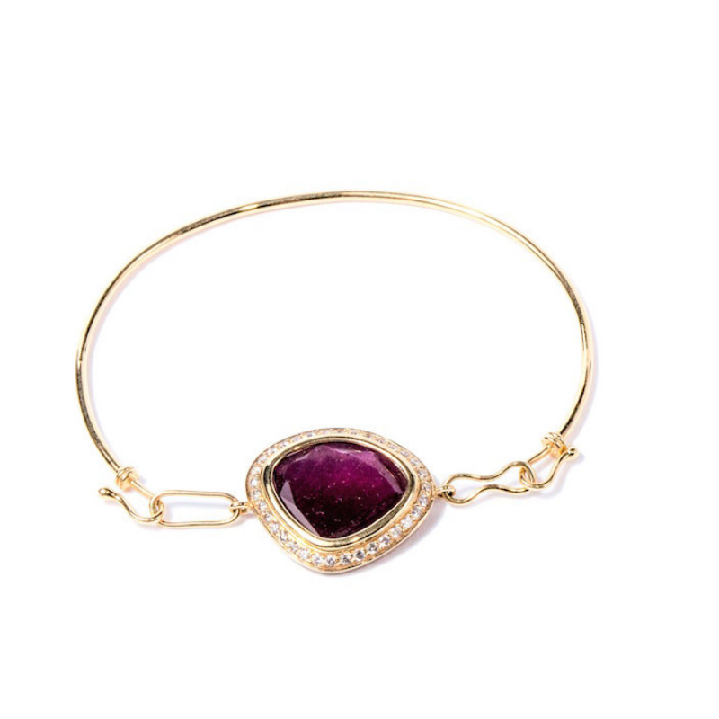 Gemme Couture Red Velvet Ruby Diamond Bangle Bracelet