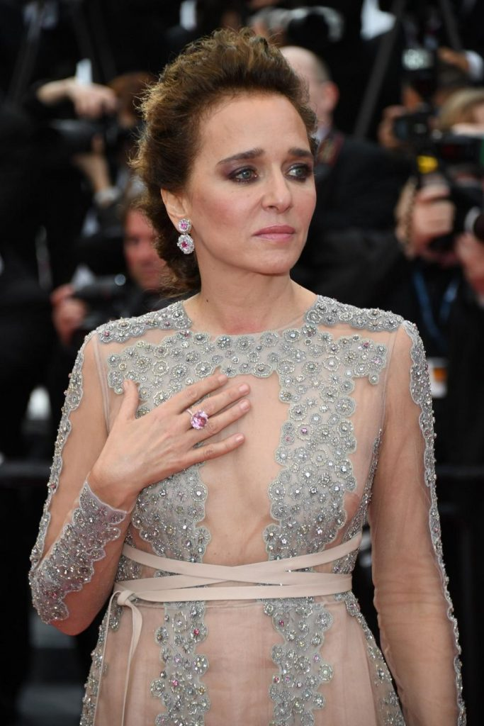 Italian Actress Valeria Golino, wore a pair of pink spinel and diamond earrings and pale pink spinel ring, all from the High Jewelry Collection.