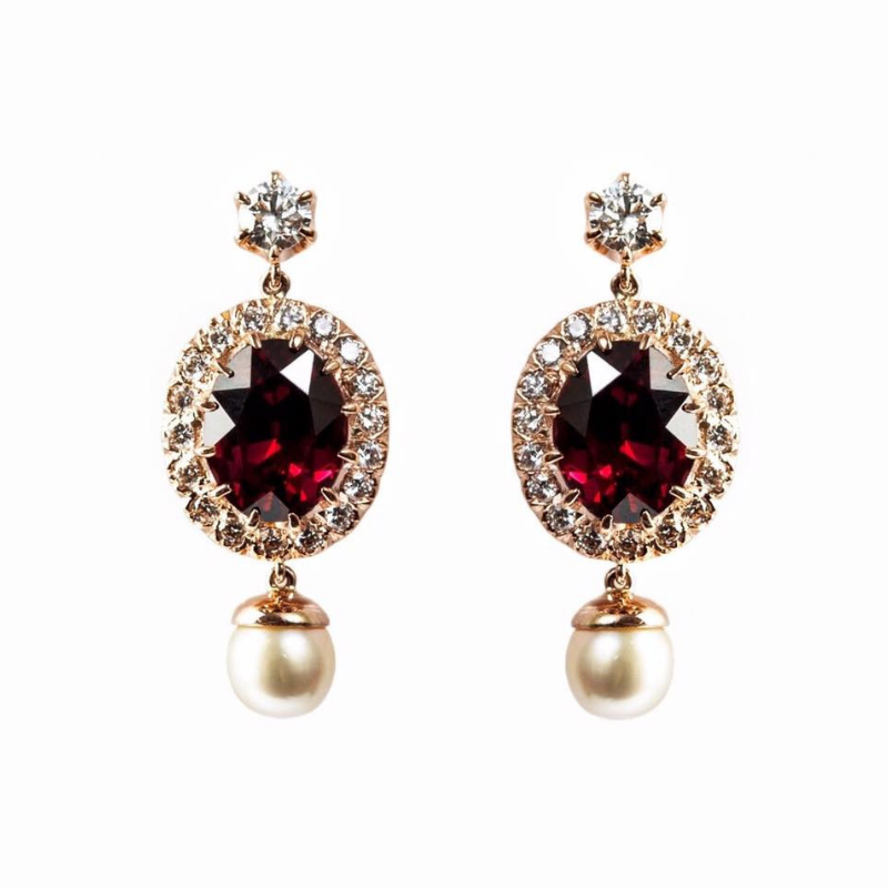 January birthstone: Gemme Couture garnet earrings with diamonds and pearls