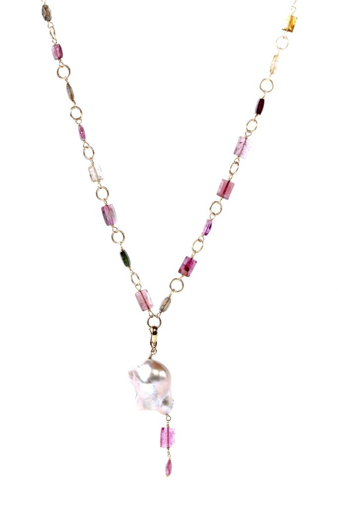 Gemme Couture Baroque Pearl Pink Tourmaline Necklace