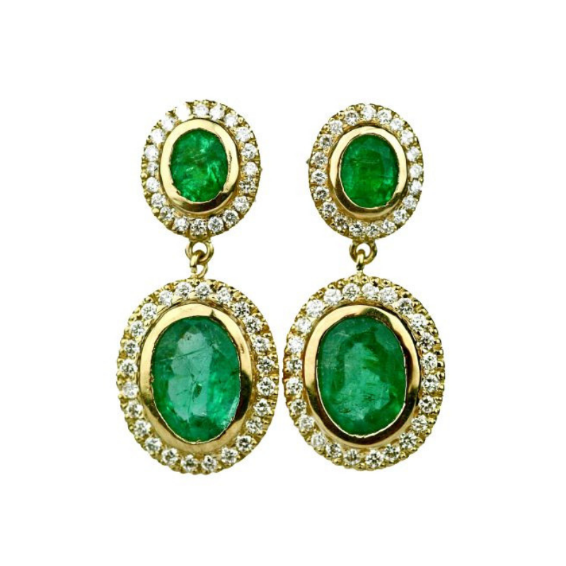 Emerald, may birthstone Gemme Couture Emerald Diamond Earrings