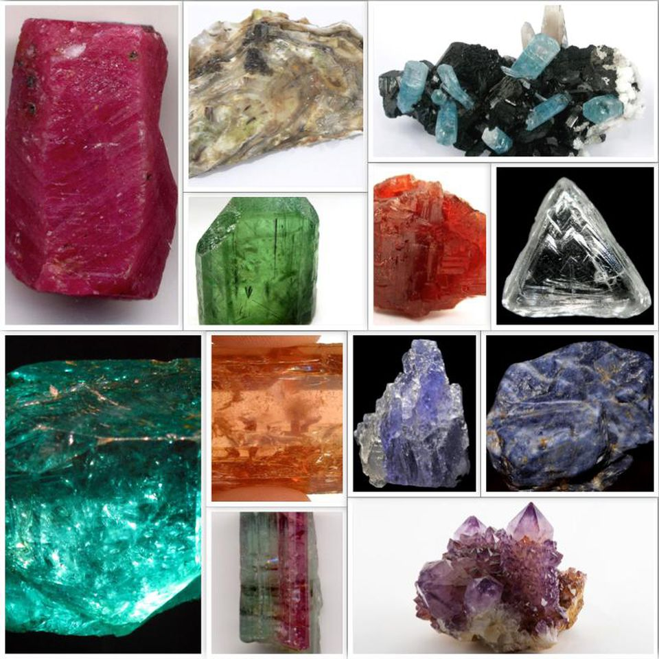 Uncut and unpolished birthstone gemstones
