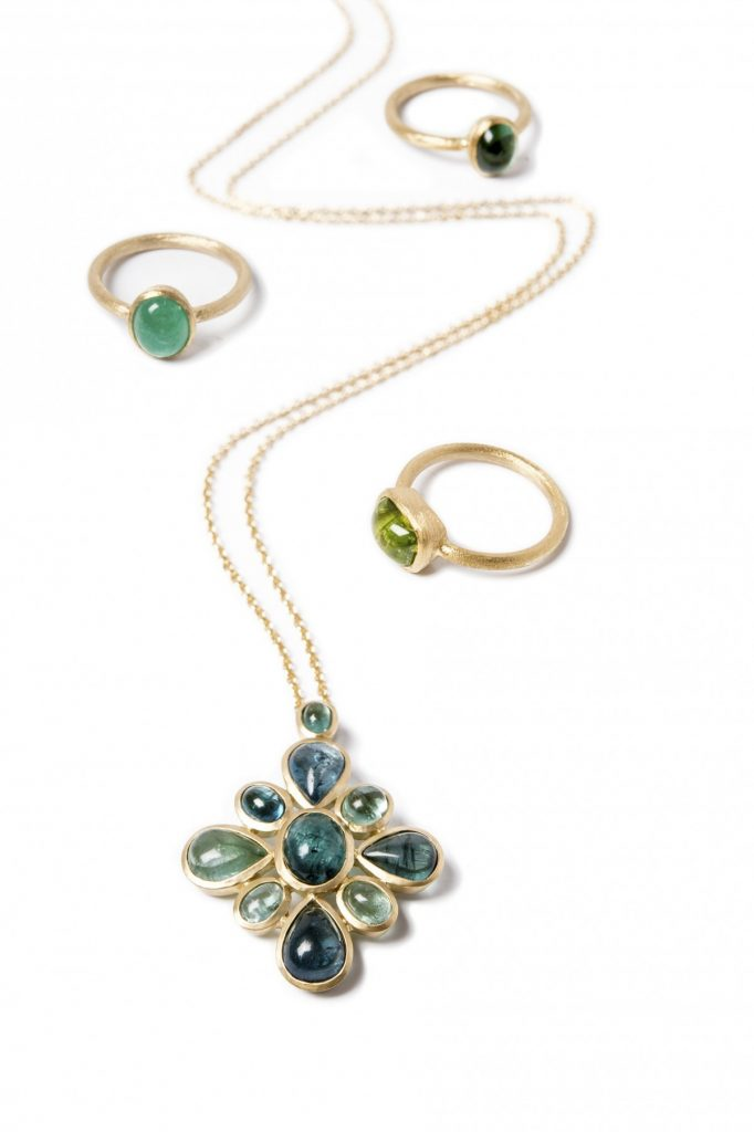 GemmeCouture Candy in Green Tourmaline Necklace and Emerald and Peridot Rings