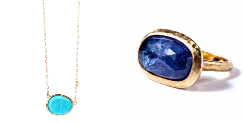 Gemme Couture Turquoise Diamond Necklace and tanzanite ring